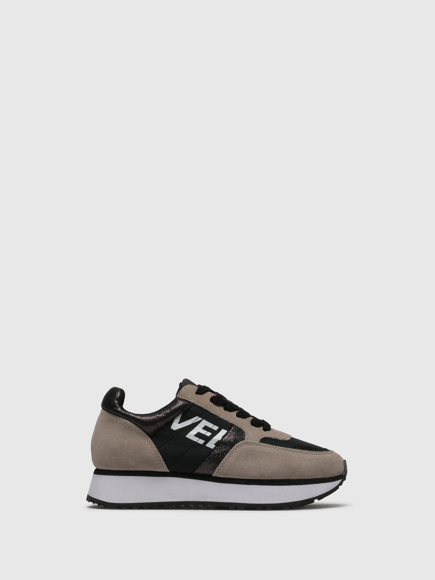 EMANUÉLLE VEE Tan Black Lace-up Trainers