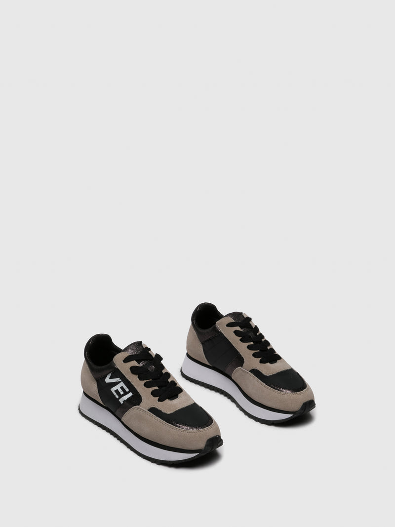 Tan Black Lace-up Trainers