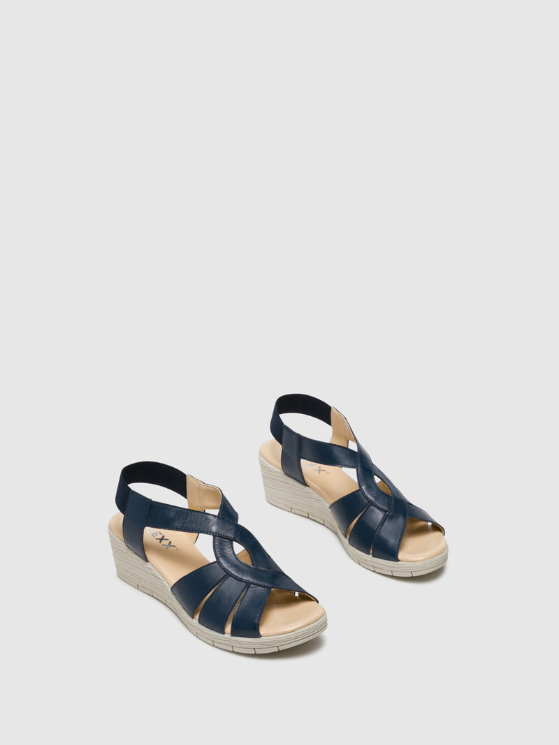 Navy Wedge Sandals