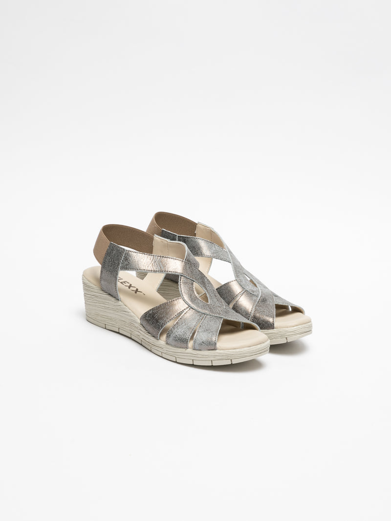 The Flexx Silver Wedge Sandals