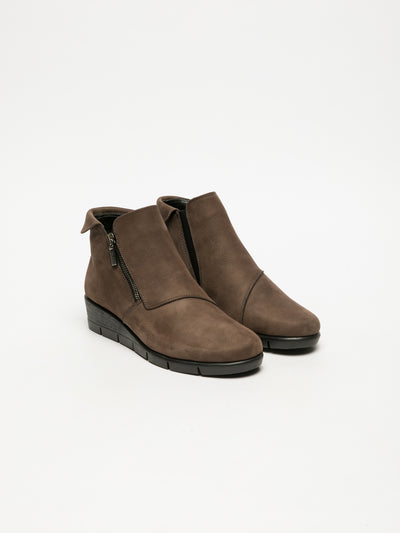 The Flexx Brown Zip Up Ankle Boots