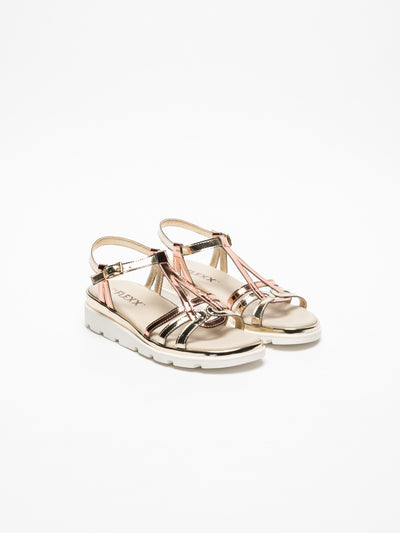 The Flexx Gold Sling-Back Sandals