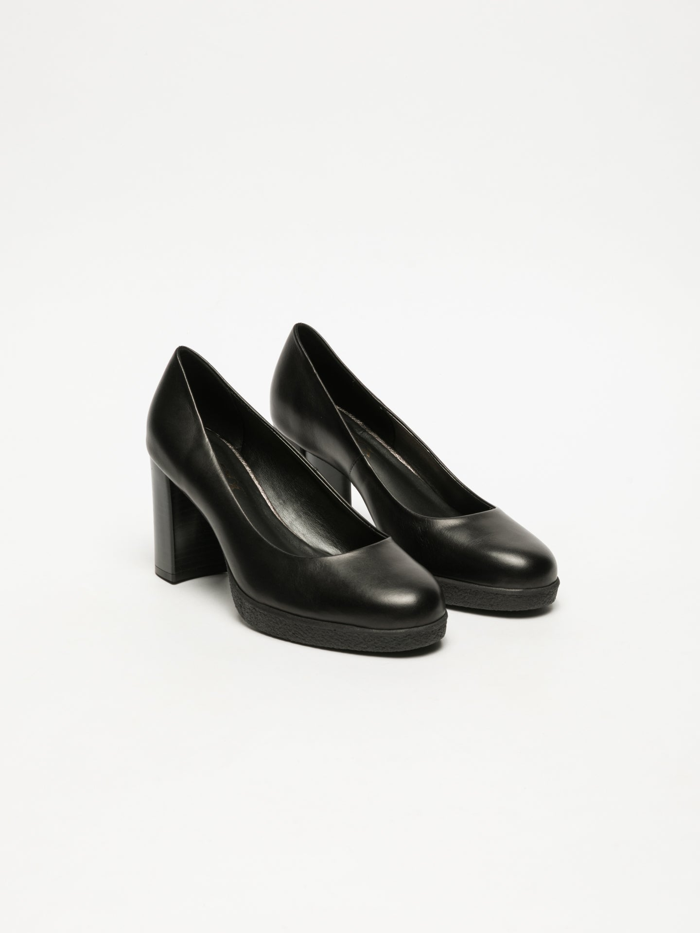 The Flexx Black Block Heel Shoes