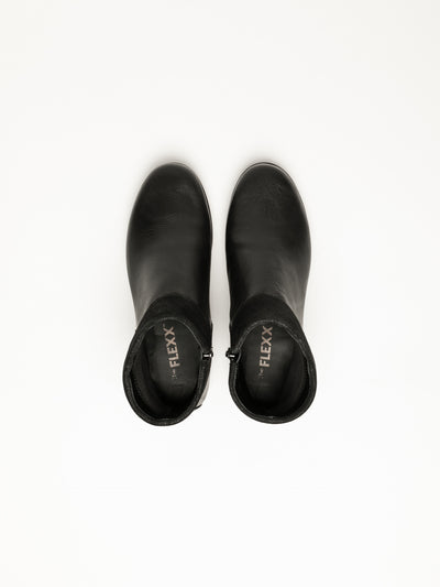 The Flexx Black Zip Up Ankle Boots