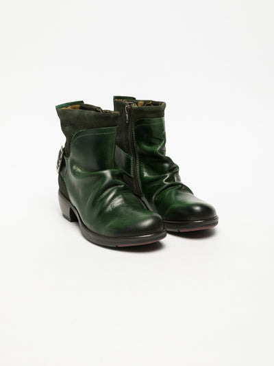 Fly London DarkGreen Buckle Ankle Boots