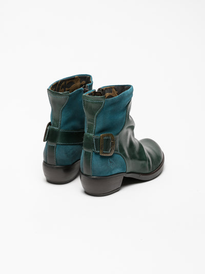 Fly London DarkCyan Buckle Ankle Boots