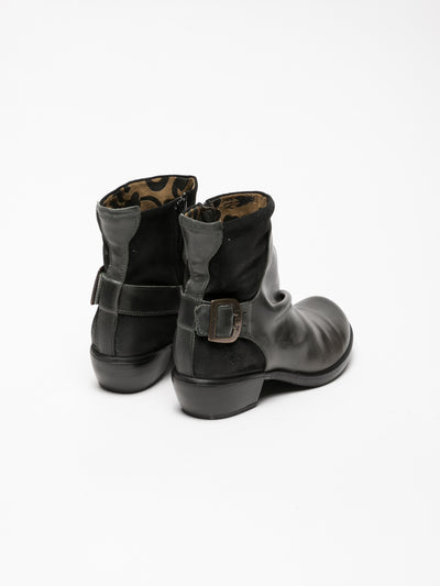 Fly London Gray Buckle Ankle Boots