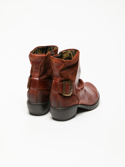Fly London DarkRed Buckle Ankle Boots