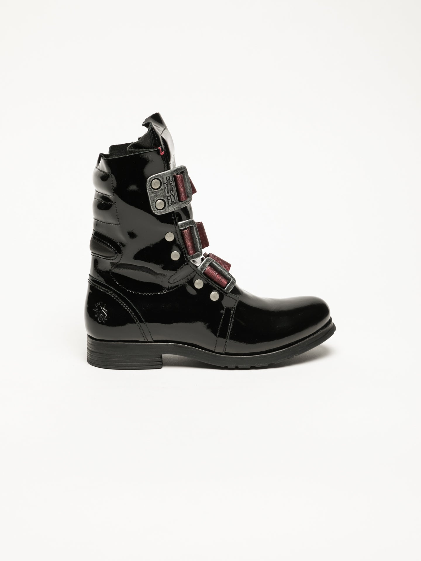 Fly London Matte Black Buckle Ankle Boots