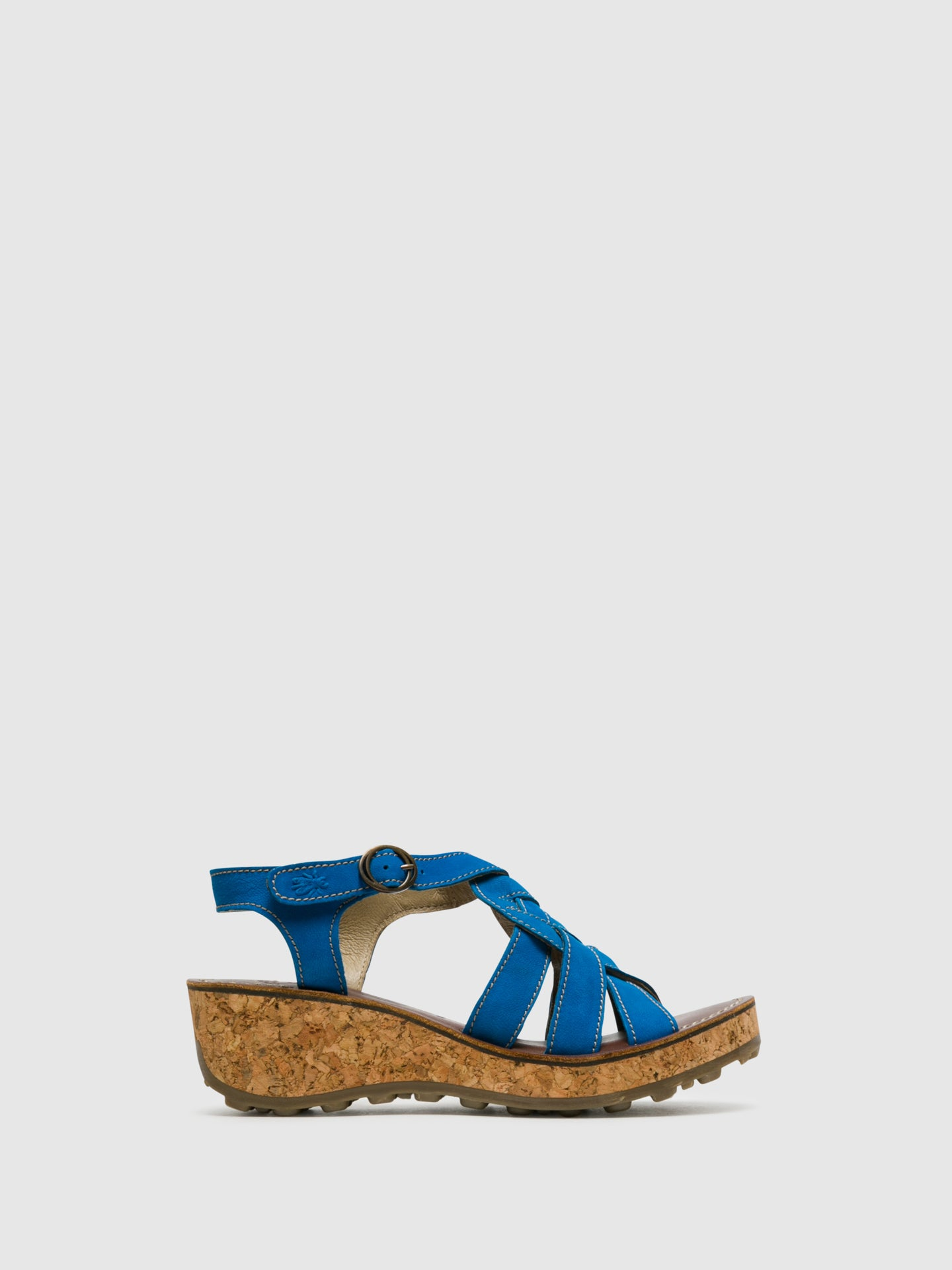Fly London Blue Buckle Sandals