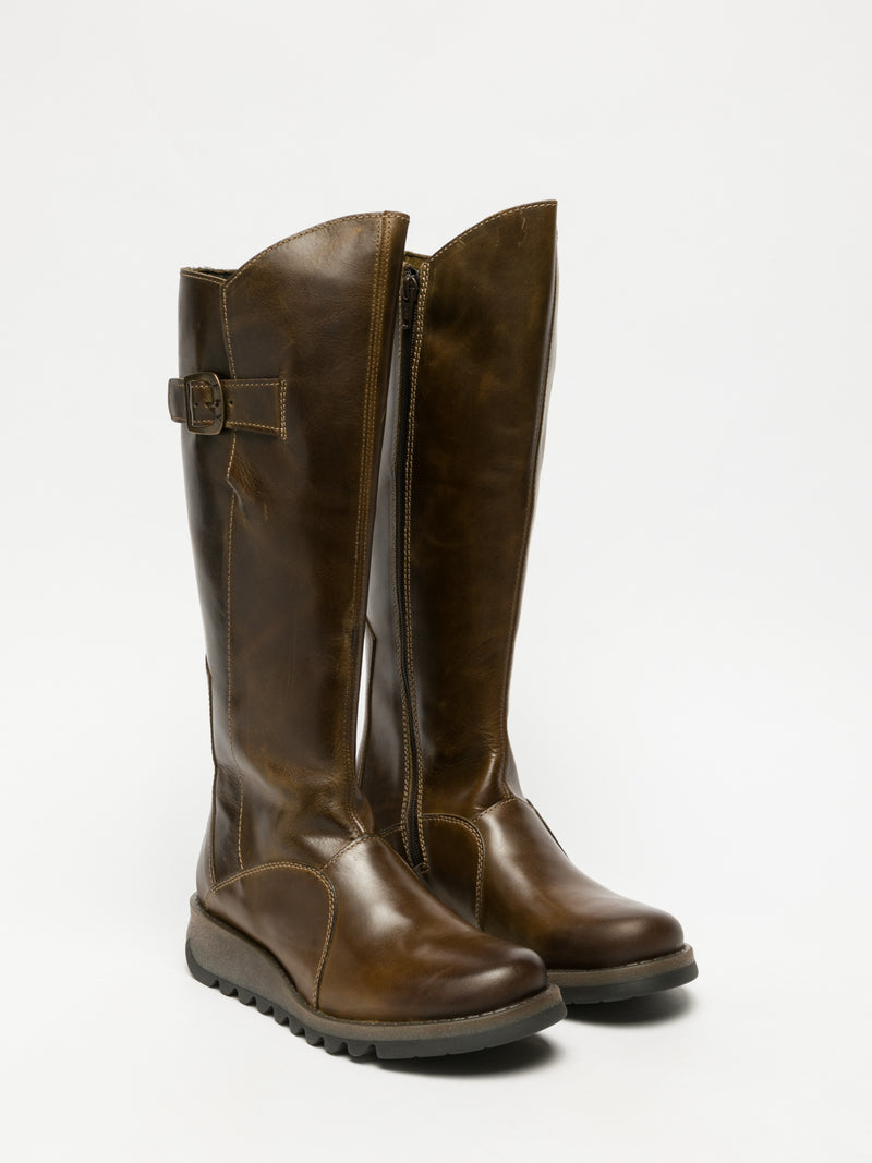 Fly London Brown Zip Up Boots
