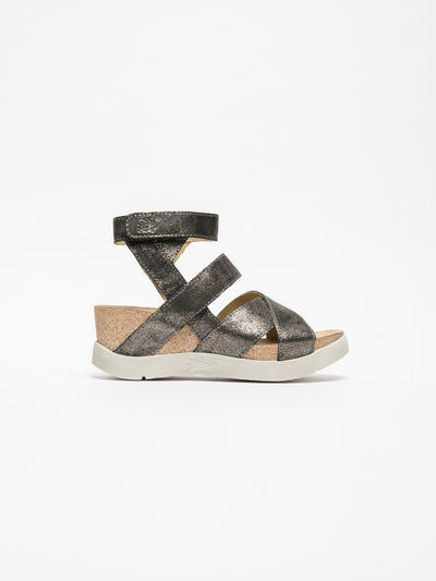 Fly London Gray Strappy Sandals
