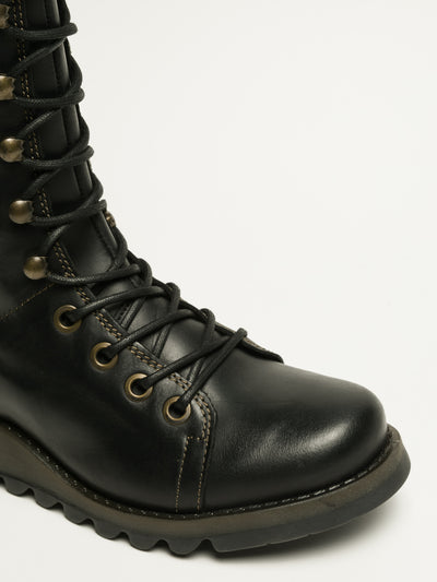 Fly London Black Lace-up Boots