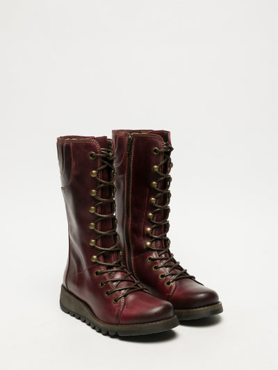 Fly London DarkRed Lace-up Boots