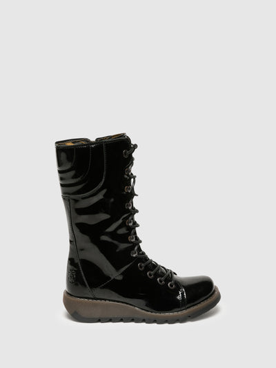 Fly London Coal Black Lace-up Boots