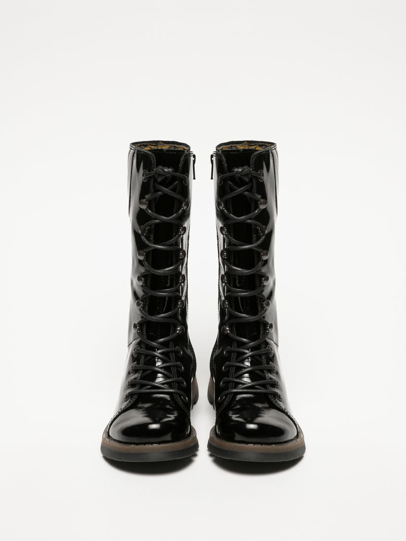 Coal Black Lace-up Boots