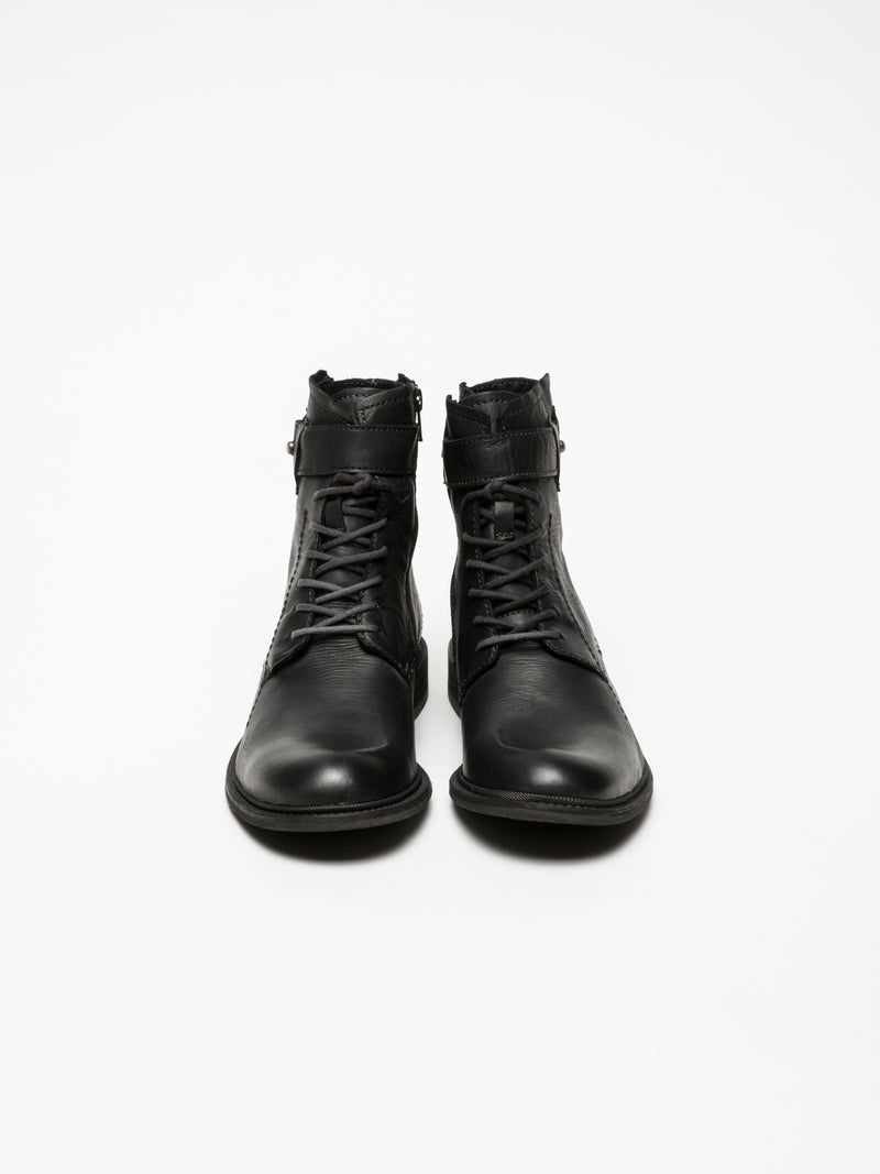 Black Lace-up Ankle Boots