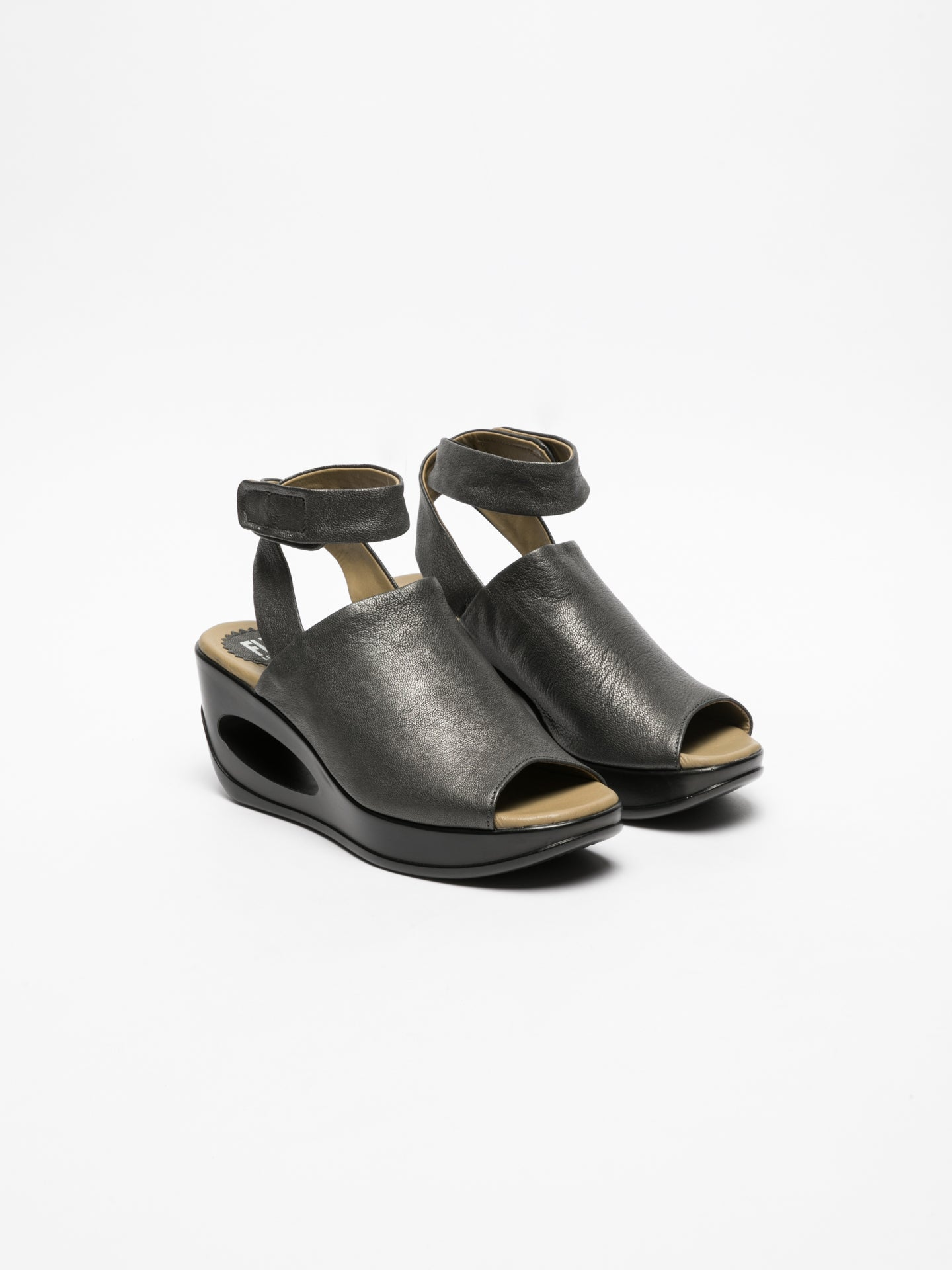Fly London Gray Wedge Sandals