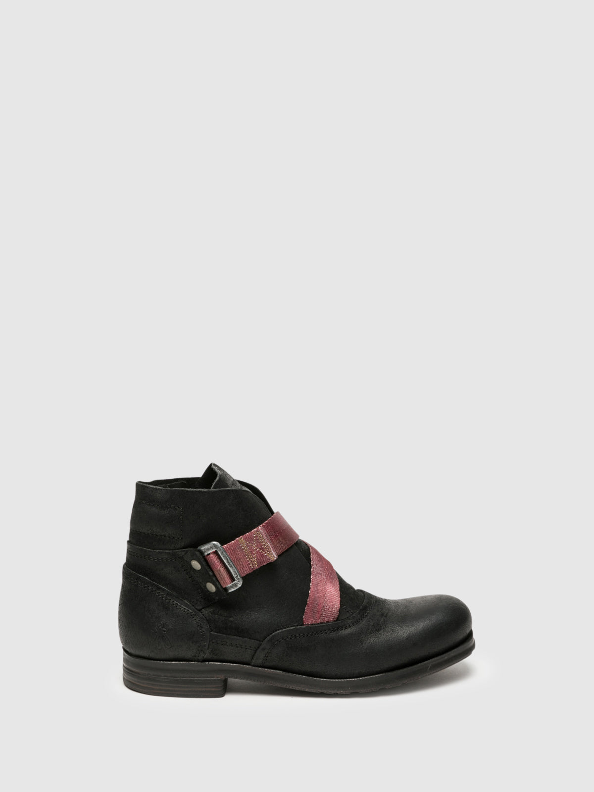 Fly London Coal Black Buckle Ankle Boots