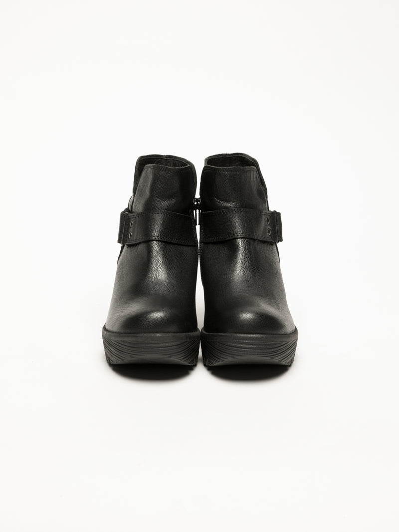 Black Velcro Ankle Boots