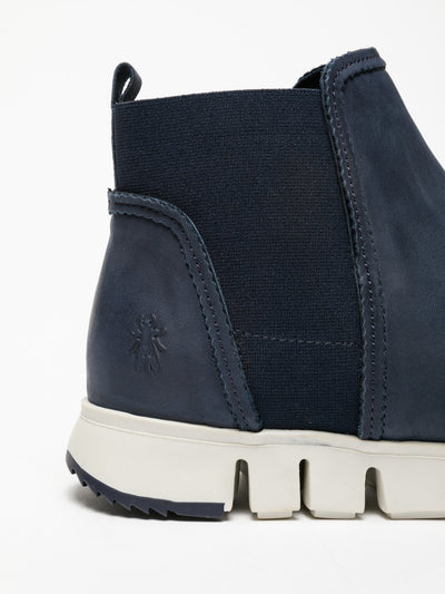 Fly London Navy Elasticated Ankle Boots