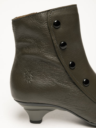 Fly London Khaki Studded Ankle Boots