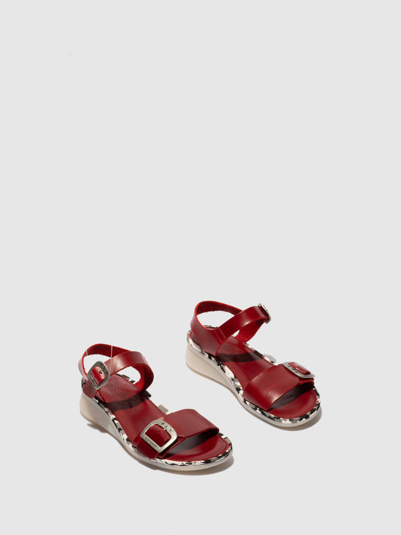 Fly London Buckle Sandals COMB230FLY RED (RED MIDSOLE)