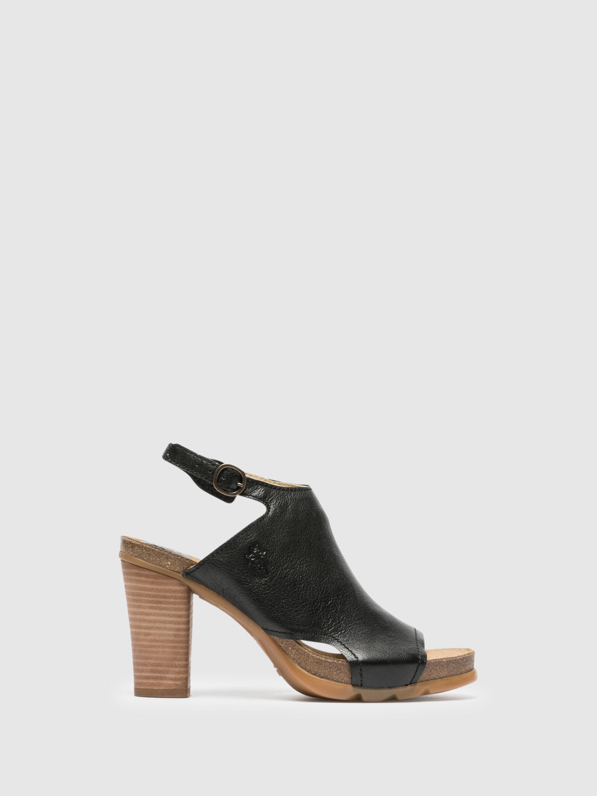 Fly London Black Chunky Heel Mules