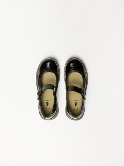 Fly London Coal Black Monk Shoes