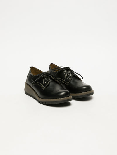 Fly London Matte Black Lace Fastening Shoes