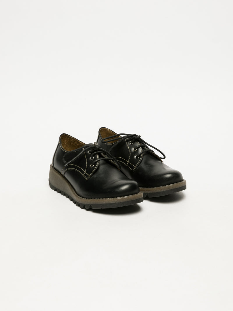 Matte Black Lace Fastening Shoes