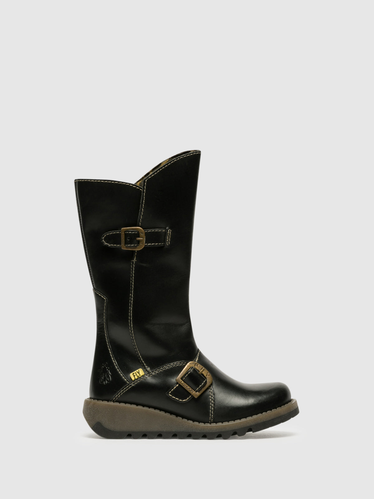 Fly London Matte Black Buckle Boots