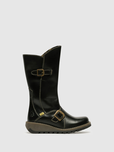 Fly London Black Buckle Boots
