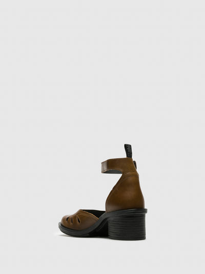 Fly London Brown Ankle Strap Sandals