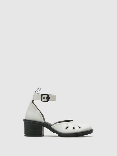 Fly London White Ankle Strap Sandals