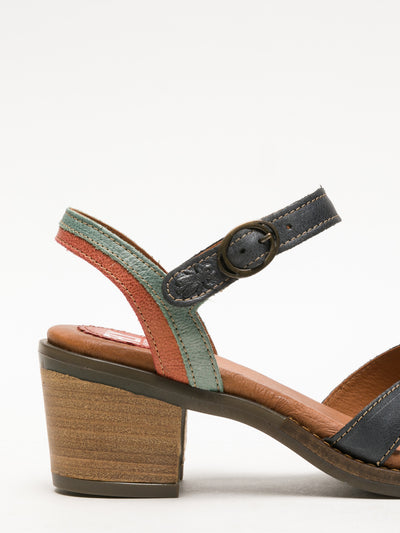 Fly London Red Black Buckle Sandals