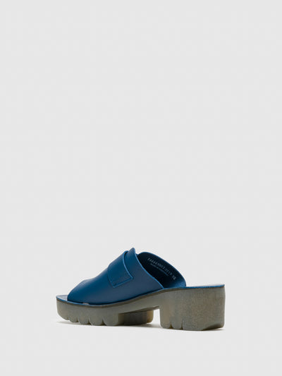 Fly London Blue Chunky Heel Mules