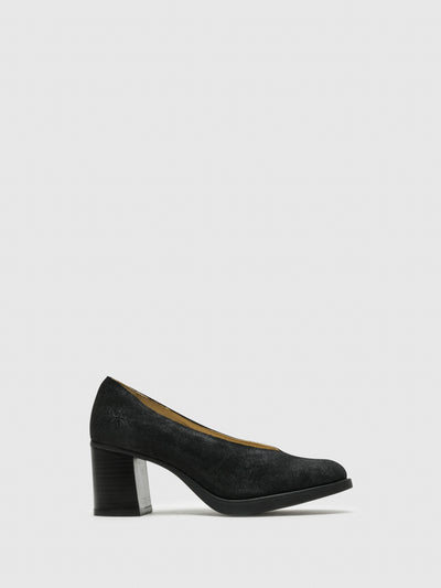 Fly London Black Round Toe Pumps Shoes