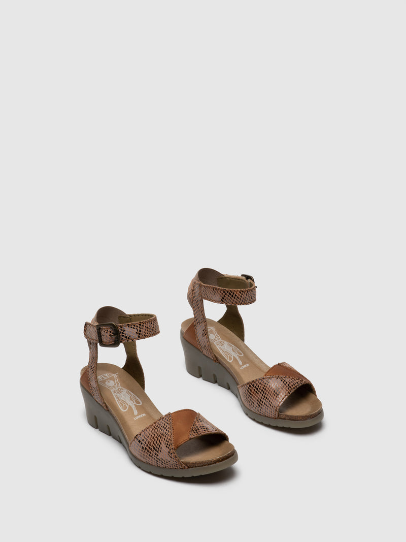 Fly London Tan Ankle Strap Sandals