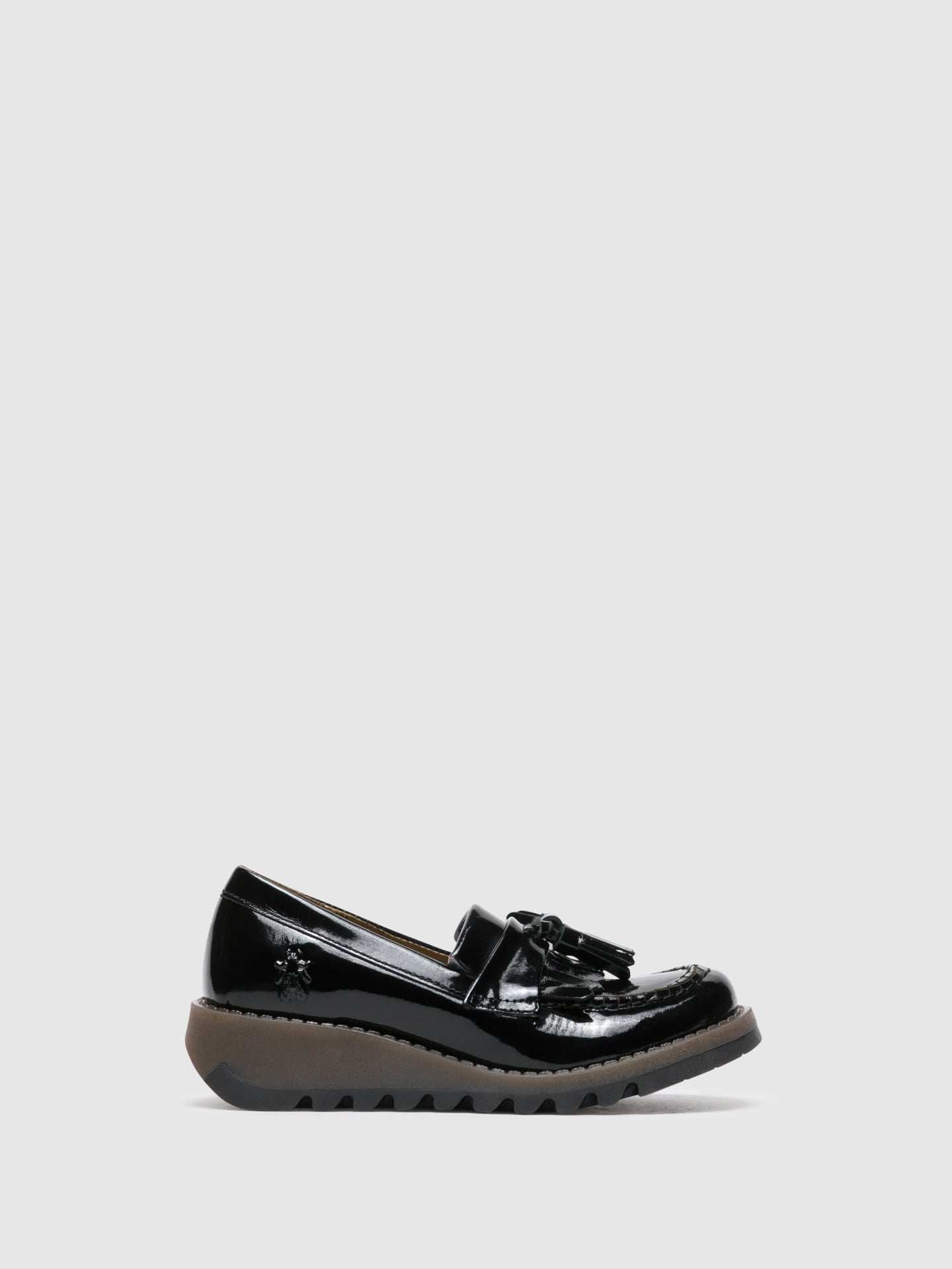 Fly London Gloss Black Loafers Shoes