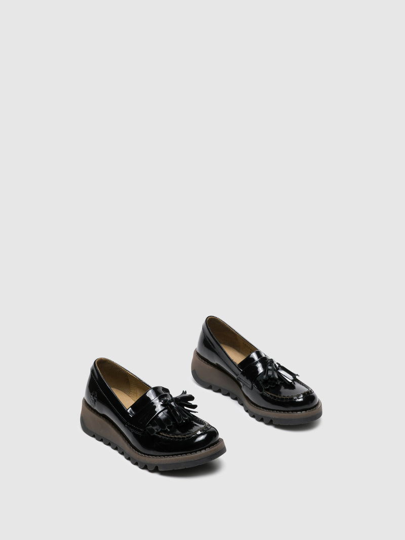 Gloss Black Loafers Shoes