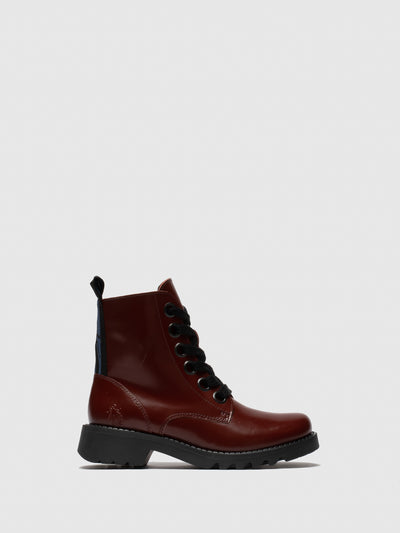 Fly London Red Leather Lace-up Ankle Boots