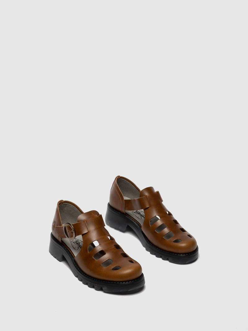 Fly London Camel Buckle Shoes