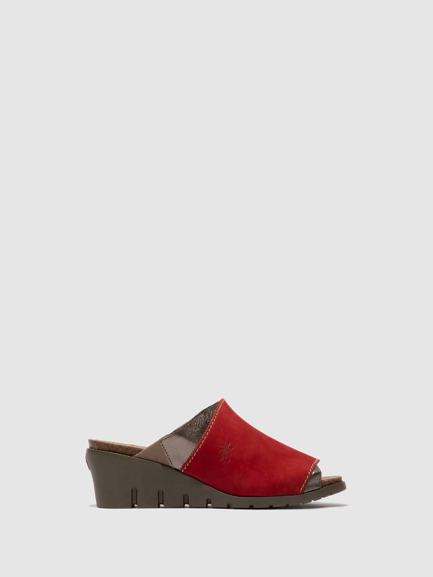 Fly London Open Toe Mules IDAR569FLY LIPSTICK RED/BRONZE