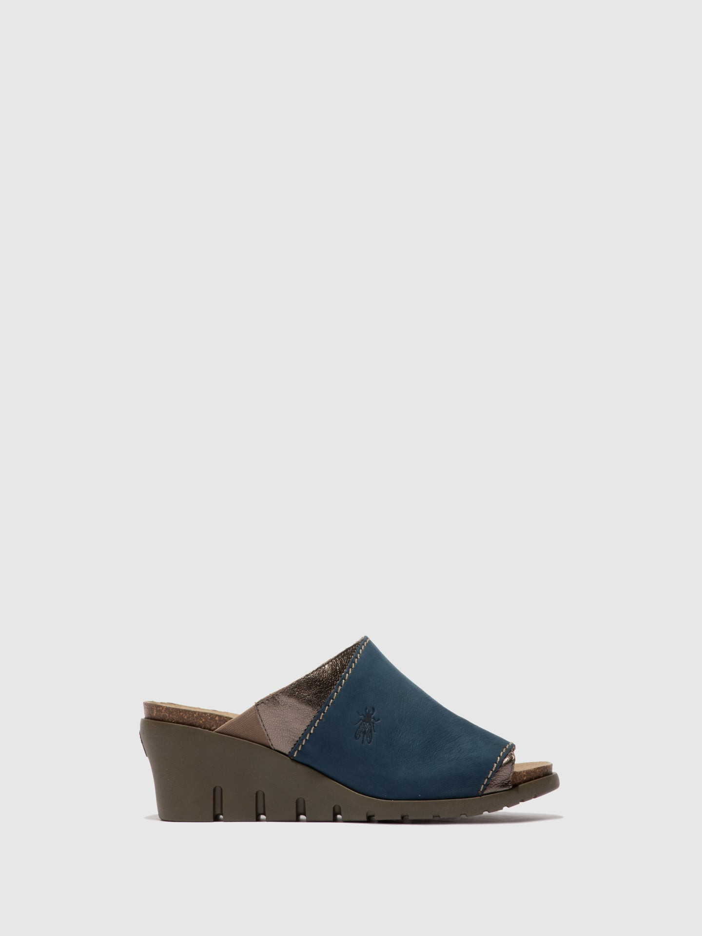 Fly London Open Toe Mules IDAR569FLY BLUE/BRONZE