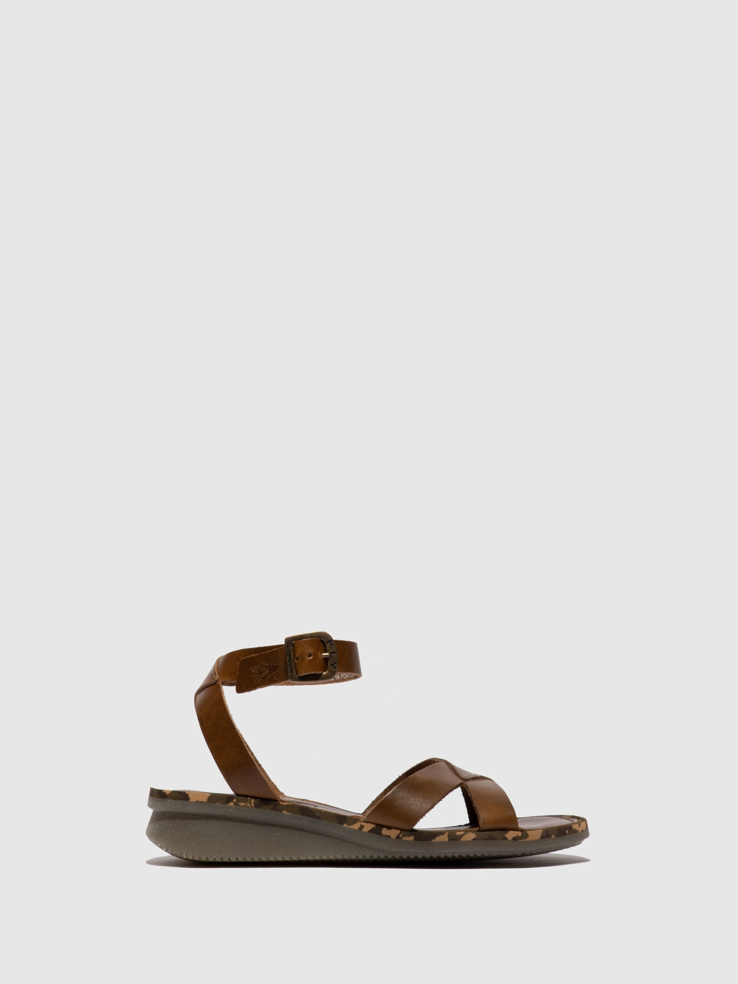 Fly London Camel Ankle Strap Sandals