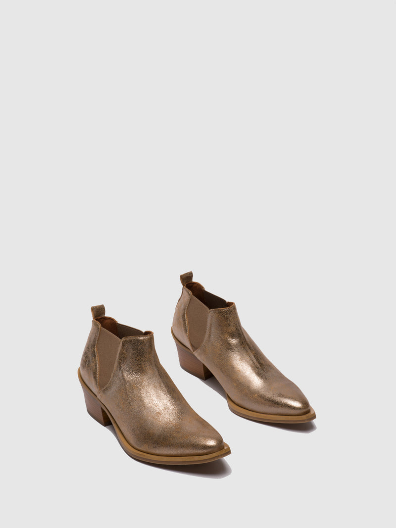 Fly London Gold Chelsea Ankle Boots