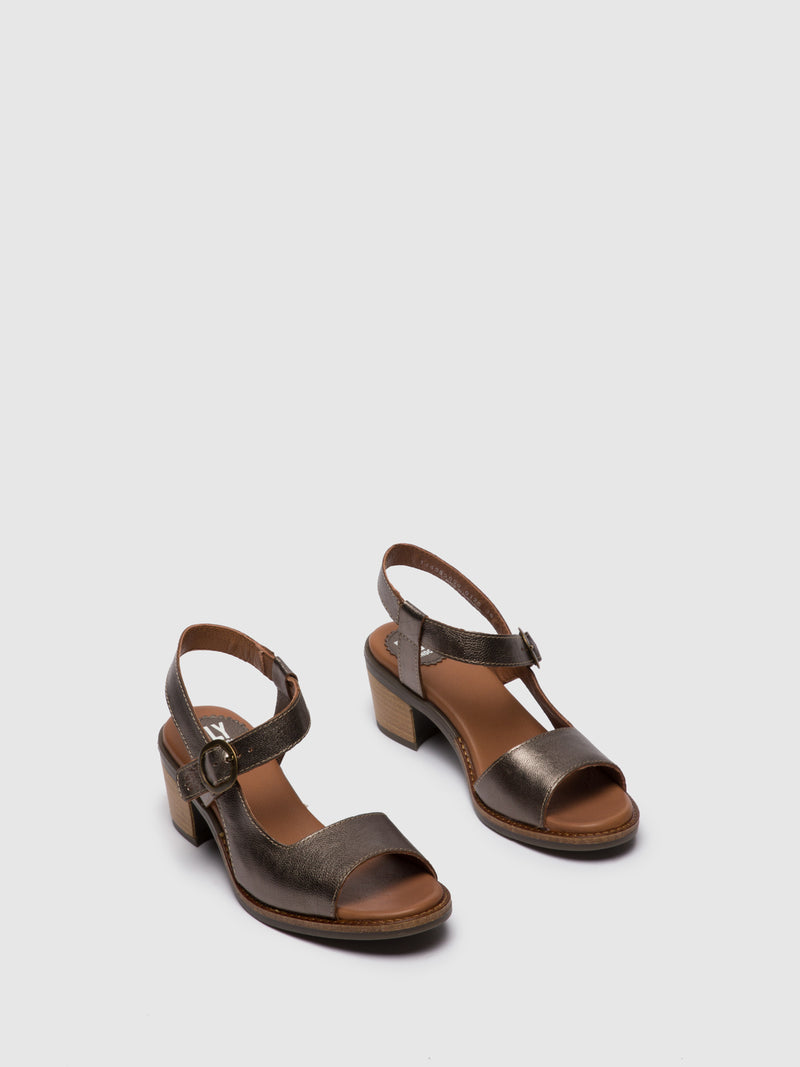 DarkGray Buckle Sandals