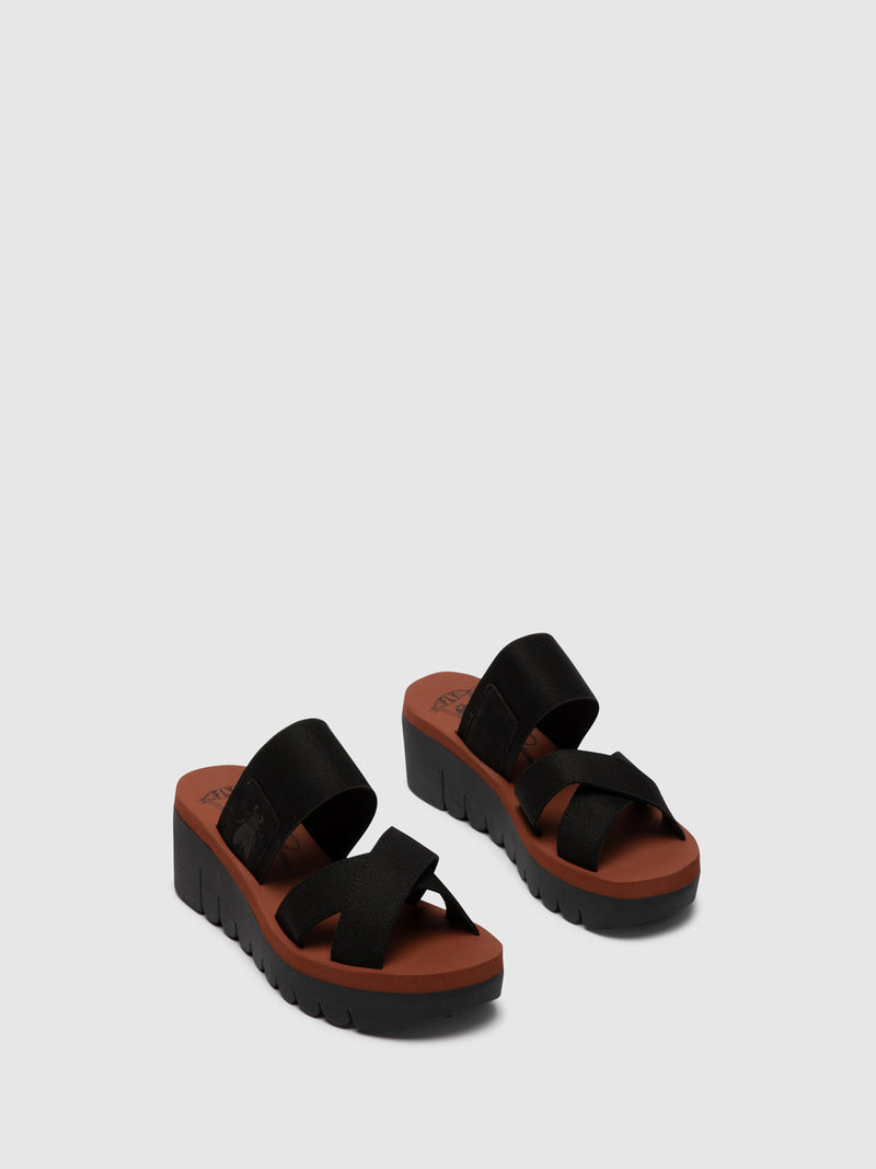 Fly London Orange Black Strappy Mules