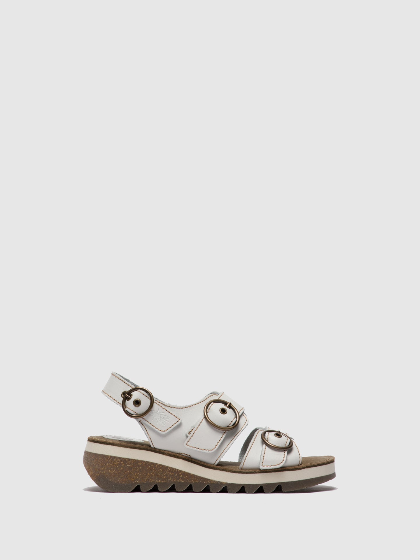 Fly London White Buckle Sandals